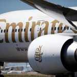 An Emirates plane is seen at Lisbon's airport